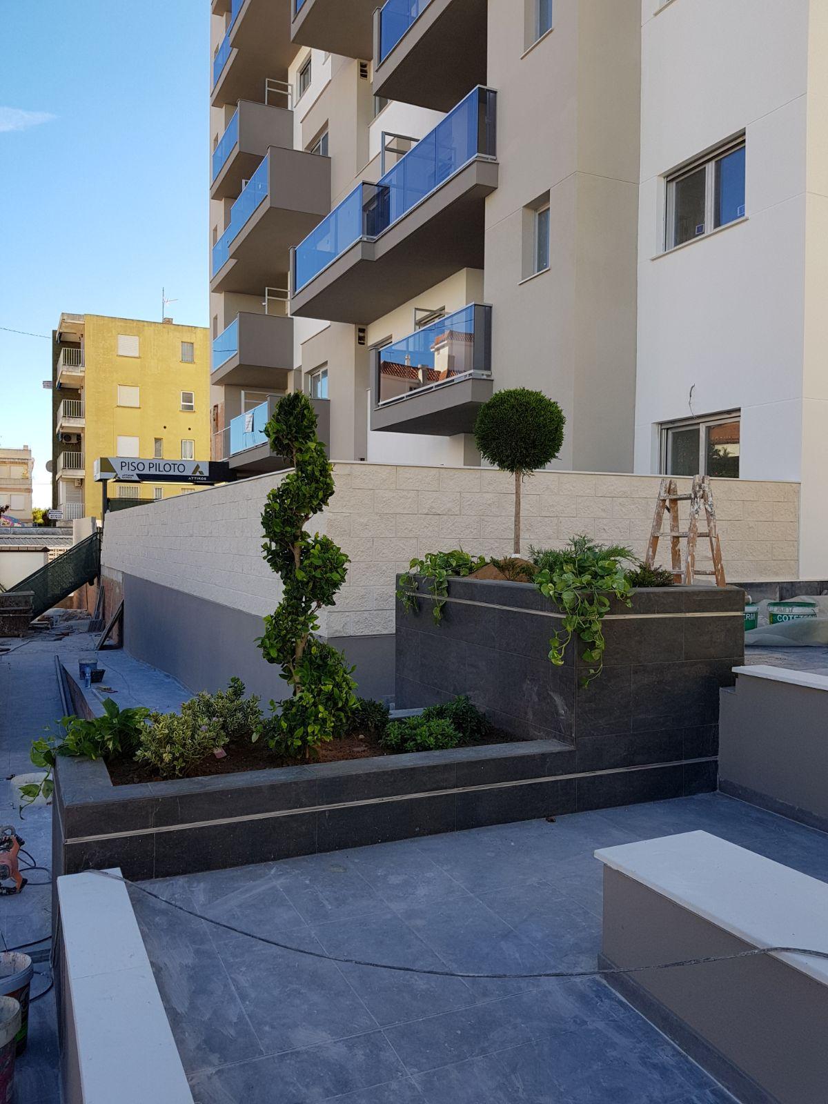 Detalle jardinería en los recorridos y zonas comunes del edificio