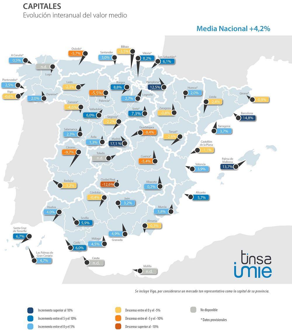 Datos por capitales de provincia. Fuente: TINSA Mercados Locales 4º trimestre 2017