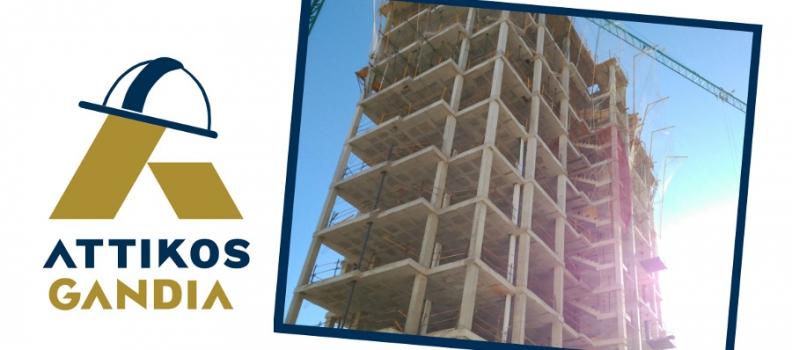 Edificio en construcción; estructura levantada